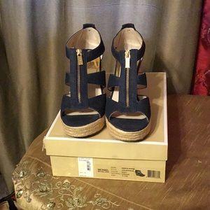 Michael Kors Navy Blue Wedge Canvas Sandals